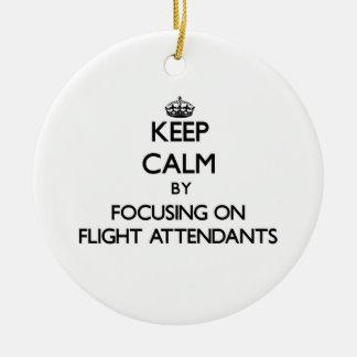 Keep Calm by focusing on Flight Attendants Christmas Tree Ornaments