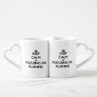 Keep Calm by focusing on Flushing Lovers Mug Set