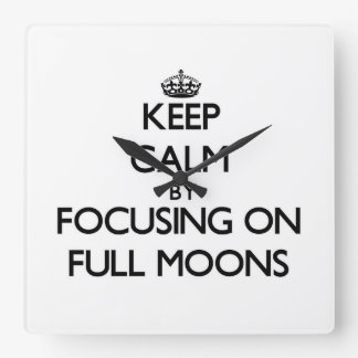 Keep Calm by focusing on Full Moons Wall Clocks