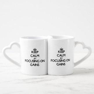 Keep Calm by focusing on Gains Couples Mug