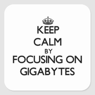 Keep Calm by focusing on Gigabytes Square Sticker