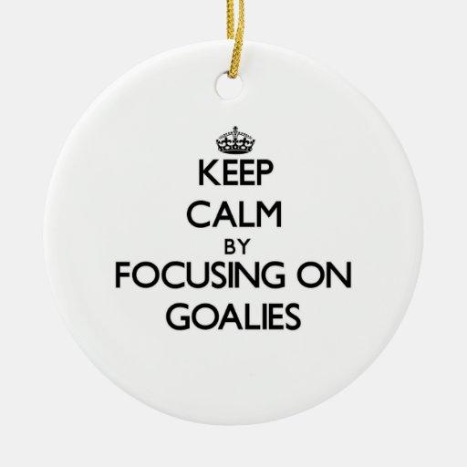 Keep Calm by focusing on Goalies Christmas Tree Ornament