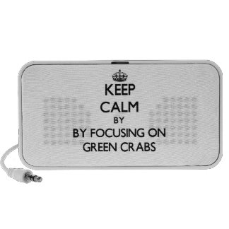 Keep calm by focusing on Green Crabs Mini Speakers