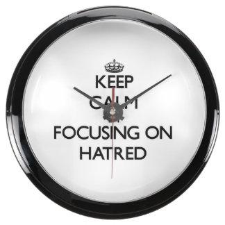 Keep Calm by focusing on Hatred Aqua Clock