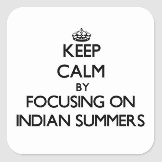 Keep Calm by focusing on Indian Summers Square Sticker