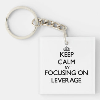 Keep Calm by focusing on Leverage Single-Sided Square Acrylic Key Ring