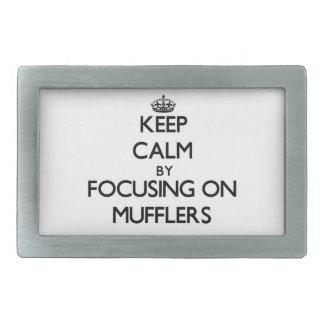 Keep Calm by focusing on Mufflers Rectangular Belt Buckles