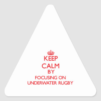 Keep calm by focusing on on Underwater Rugby Triangle Sticker