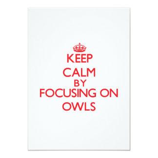 Keep calm by focusing on Owls 13 Cm X 18 Cm Invitation Card
