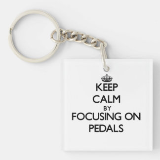 Keep Calm by focusing on Pedals Square Acrylic Keychain