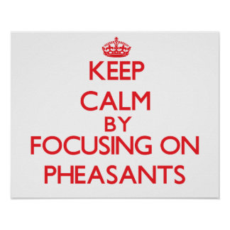 Keep calm by focusing on Pheasants Poster