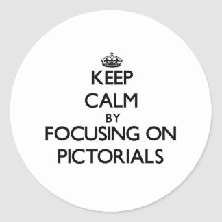 Keep Calm by focusing on Pictorials Round Stickers