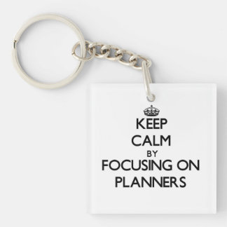 Keep Calm by focusing on Planners Square Acrylic Keychain