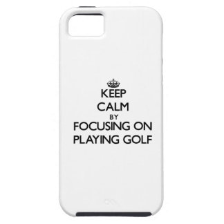 Keep Calm by focusing on Playing Golf iPhone 5 Cover