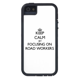 Keep Calm by focusing on Road Workers iPhone 5/5S Case