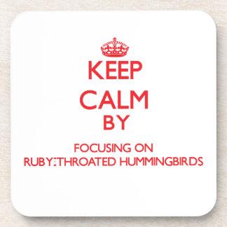 Keep calm by focusing on Ruby-Throated Hummingbird Coasters