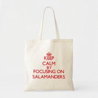 Keep calm by focusing on Salamanders Tote Bags