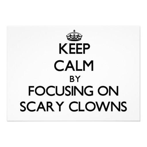 Keep Calm by focusing on Scary Clowns Custom Invitations