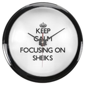 Keep Calm by focusing on Sheiks Aquarium Clocks