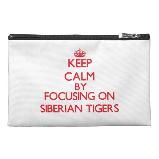 Keep calm by focusing on Siberian Tigers Travel Accessory Bag