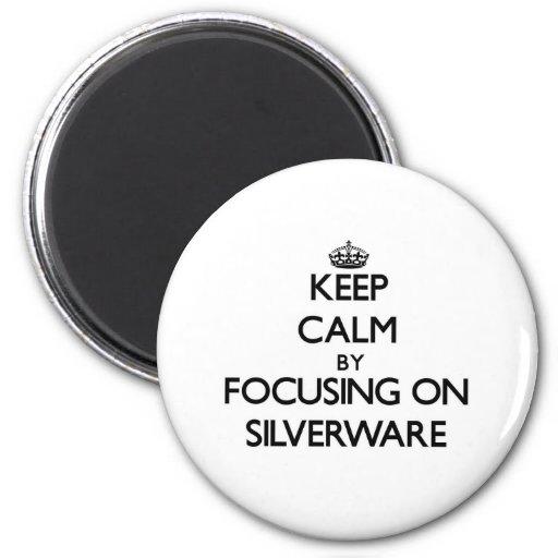 Keep Calm by focusing on Silverware Refrigerator Magnet