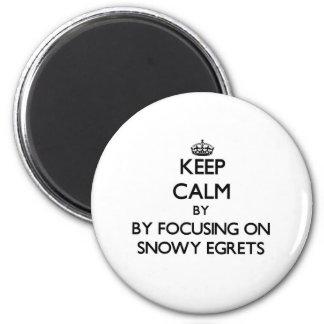 Keep calm by focusing on Snowy Egrets Fridge Magnet