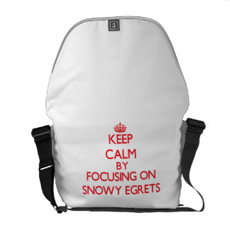 Keep calm by focusing on Snowy Egrets Messenger Bags