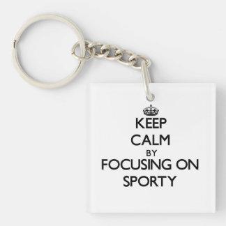 Keep Calm by focusing on Sporty Acrylic Keychain