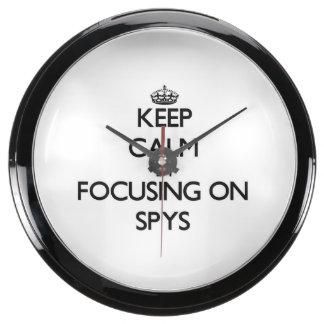 Keep Calm by focusing on Spys Aqua Clocks