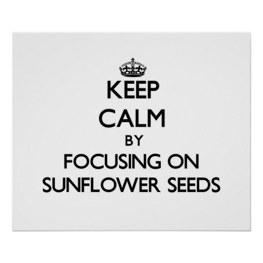 Keep Calm by focusing on Sunflower Seeds Poster