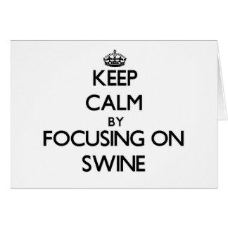 Keep Calm by focusing on Swine Greeting Cards