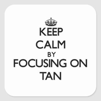 Keep Calm by focusing on Tan Square Sticker