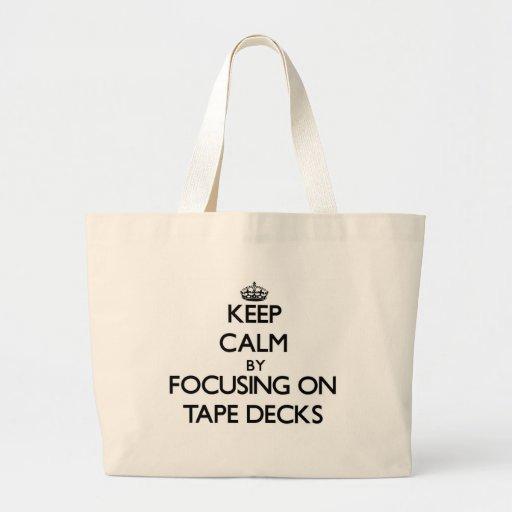 Keep Calm by focusing on Tape Decks Tote Bags