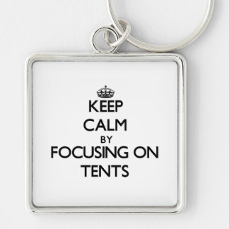Keep Calm by focusing on Tents Key Chains