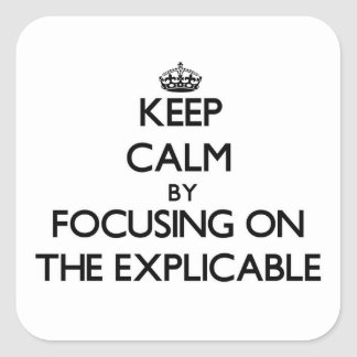 Keep Calm by focusing on THE EXPLICABLE Square Stickers
