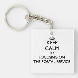 Keep Calm by focusing on The Postal Service Square Acrylic Key Chains