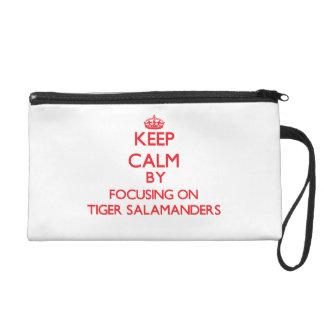 Keep calm by focusing on Tiger Salamanders Wristlet Clutch