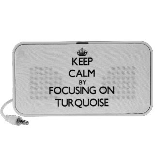 Keep Calm by focusing on Turquoise Laptop Speakers