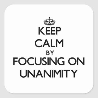 Keep Calm by focusing on Unanimity Stickers