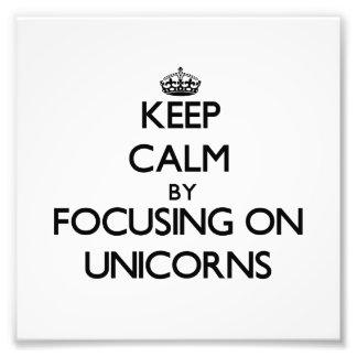 Keep Calm by focusing on Unicorns Photo Art