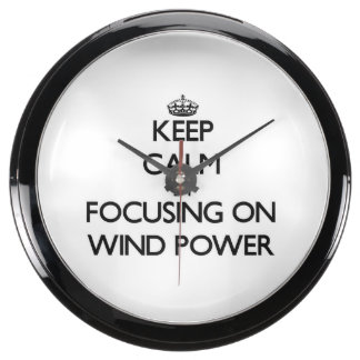 Keep Calm by focusing on Wind Power Aquarium Clock
