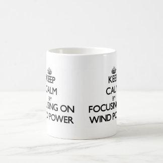 Keep Calm by focusing on Wind Power Basic White Mug