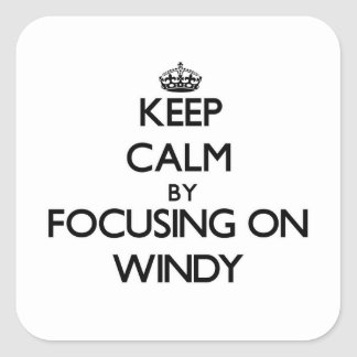 Keep Calm by focusing on Windy Square Stickers