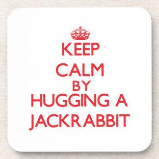 Keep calm by hugging a Jackrabbit Beverage Coasters