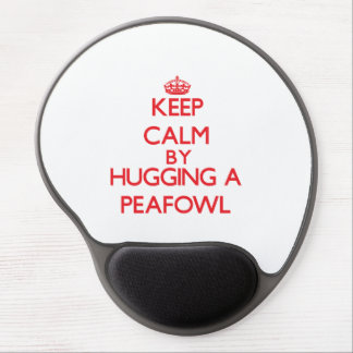 Keep calm by hugging a Peafowl Gel Mousepad