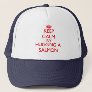 Keep calm by hugging a Salmon Trucker Hat