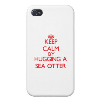 Keep calm by hugging a Sea Otter iPhone 4 Case