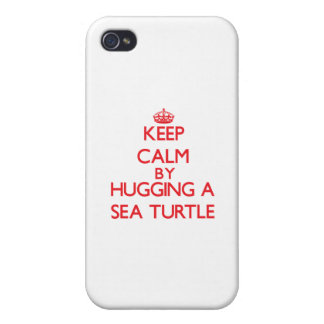 Keep calm by hugging a Sea Turtle iPhone 4 Covers
