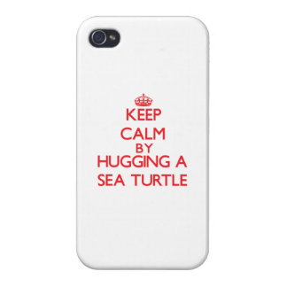 Keep calm by hugging a Sea Turtle Cases For iPhone 4