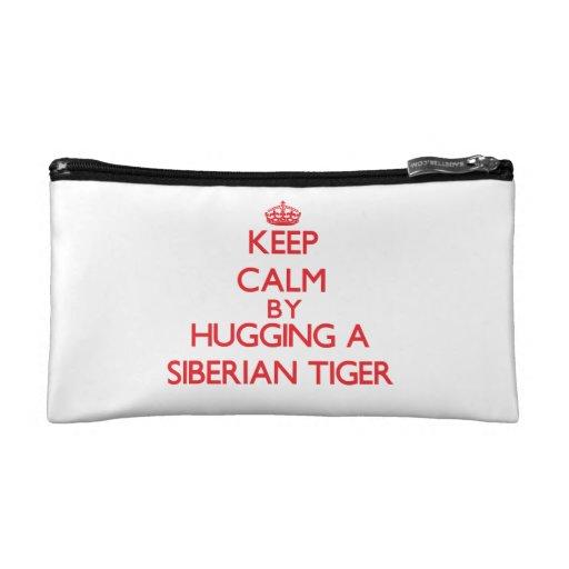 Keep calm by hugging a Siberian Tiger Makeup Bags